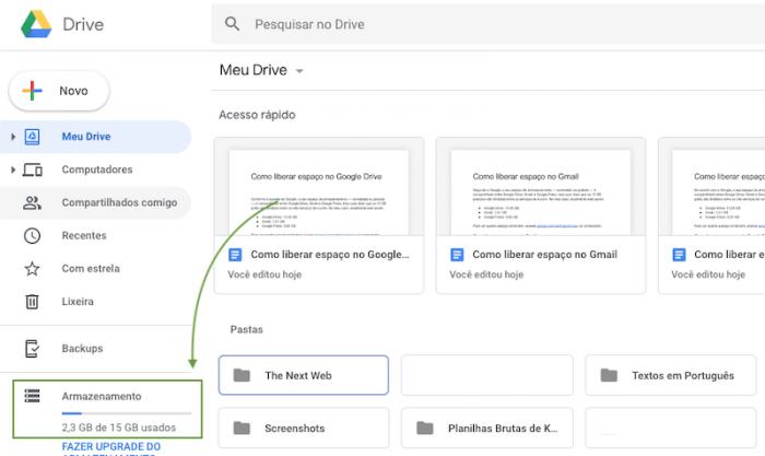 Espaço no Google Drive