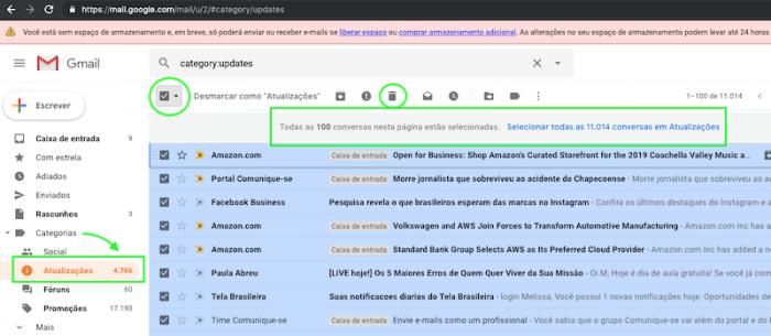 Liberar espaco Gmail