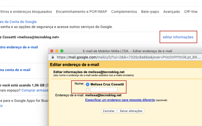 Mudar nome Gmail