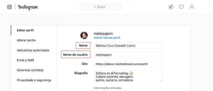 Mudar nome Instagram Web