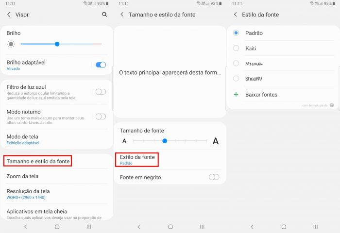 Android / configurações de fonte / como mudar a letra do celular