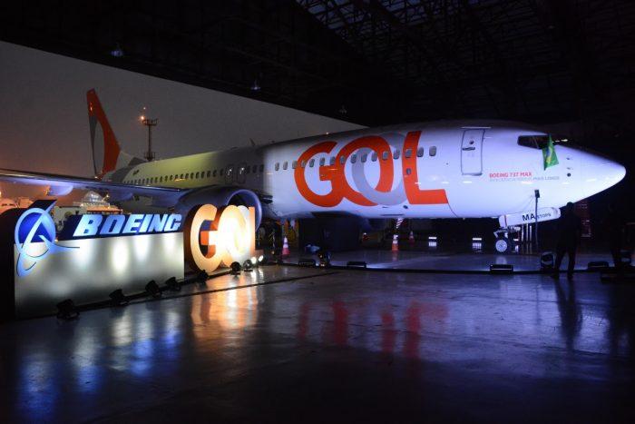 Boeing 737 Max 8 da Gol em evento de apresentação