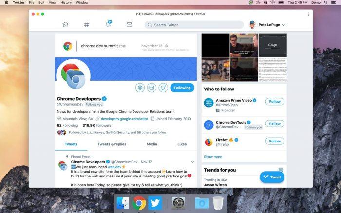 PWA do Twitter no macOS
