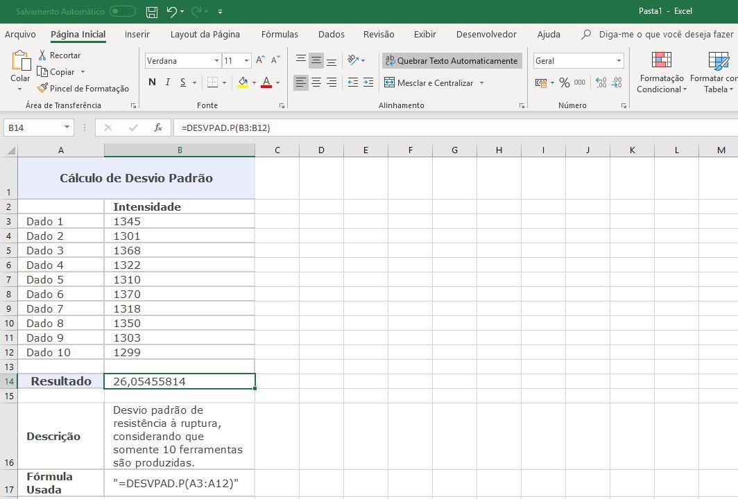 Excel / como calcular desvio padrão no excel