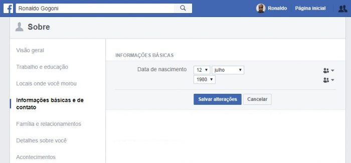 Configurações do Facebook / Como mudar a data de nascimento no Facebook