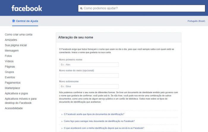 Formulário de alteração de nome do Facebook /