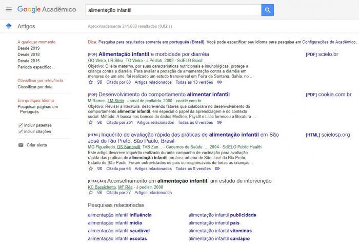 Página de resultados do Google Acadêmico
