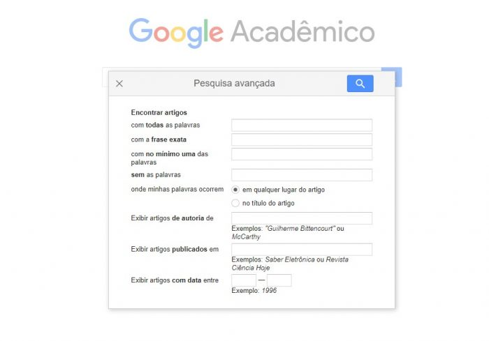 Pesquisa avançada do Google Acadêmico