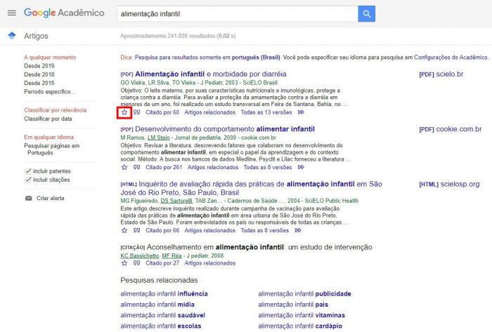 Página de resultados do Goog