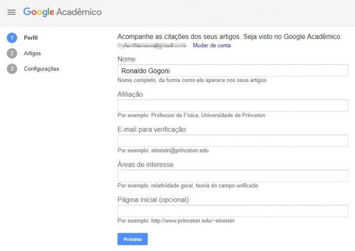 Minhas citações / Perfil / Google Acadêmico