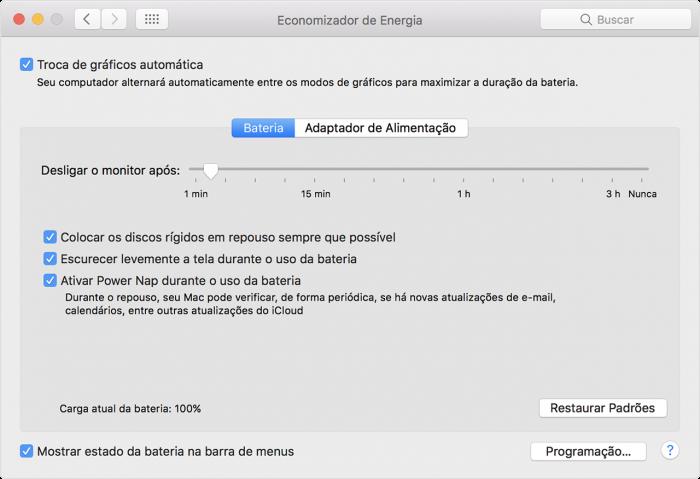 Apple / Economizador de Energia do macOS / bateria macbook