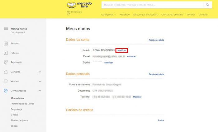 Mercado Livre / Página de perfil / como mudar o nome no mercado livre