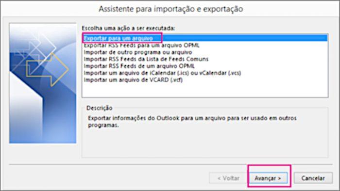 Outlook / exportar contatos outlook