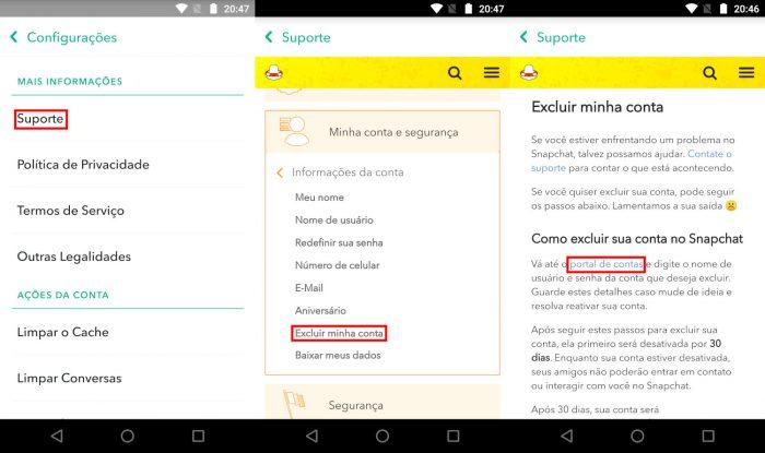 Snapchat / deletando a conta / Como mudar o nome de usuário do Snapchat