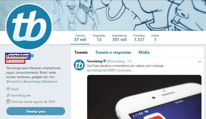 Twitter do Tecnoblog / como mudar o nome no twitter