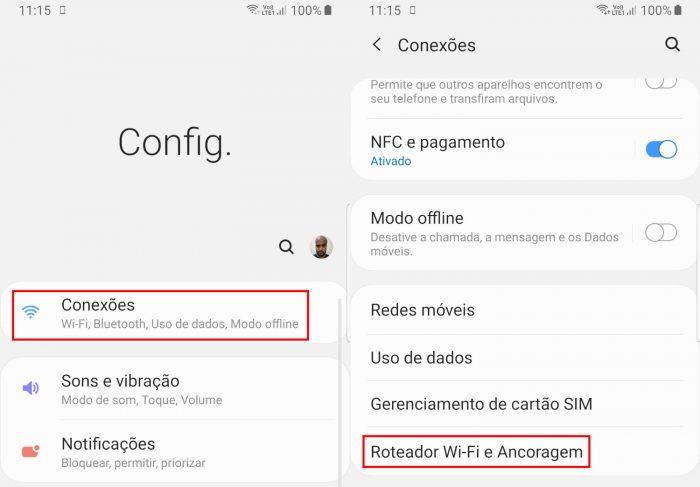 Configurações do Android / como compartilhar internet