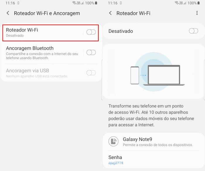 Android / Configurações de tethering / como compartilhar internet