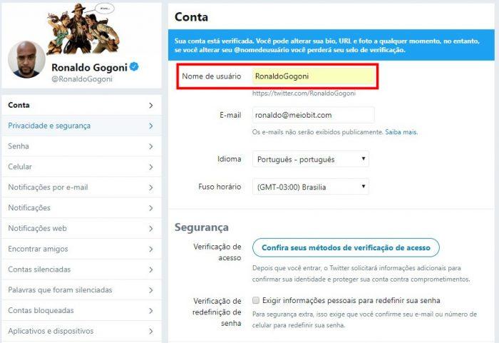 Configurações de conta do Twitter / como mudar o nome no Twitter