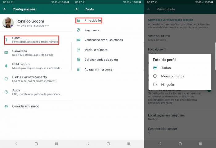 Android / WhatsApp / Como ocultar a foto de um contato no WhatsApp