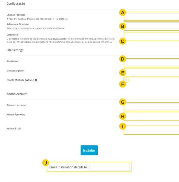 HostGator / configurações do WordPress / como instalar o wordpress