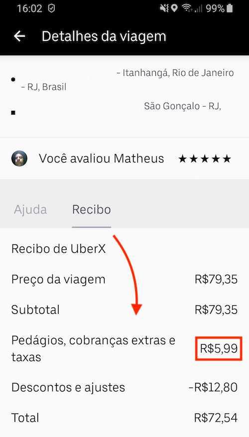 Recibo Uber Pedágio
