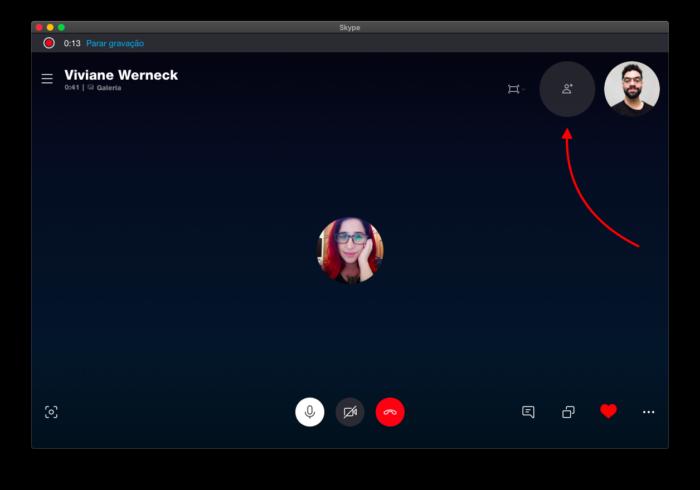adicionar mais pessoas na chamada do skype