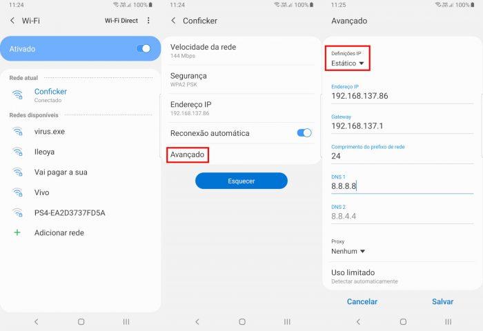 Android / configurações de DNS / o servidor dns não está respondendo