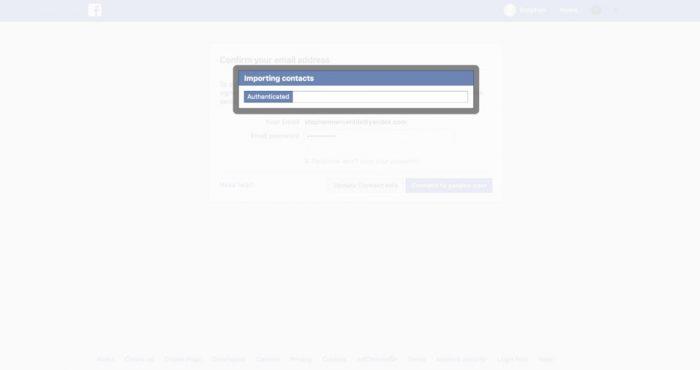 facebook importando contatos sem permissao