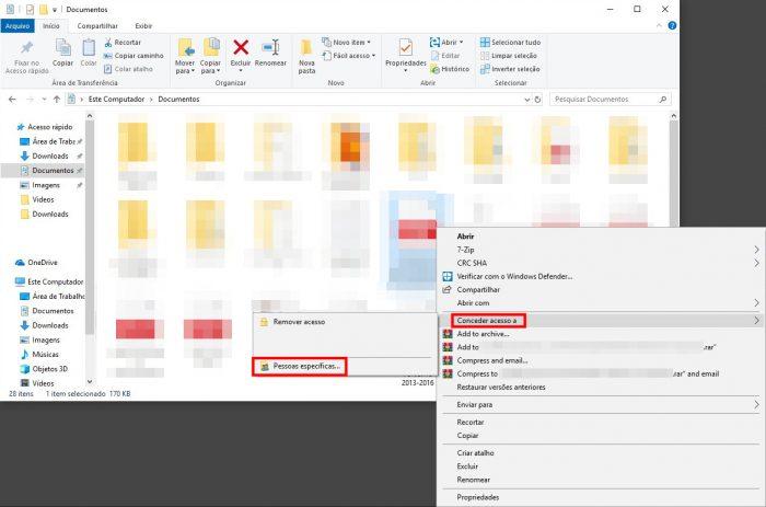 Windows 10 / Explorador de Arquivos / grupo doméstico windows 7