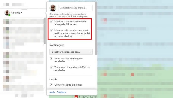 Hangouts no Gmail / Como saber se a pessoa esta online no Google Hangouts