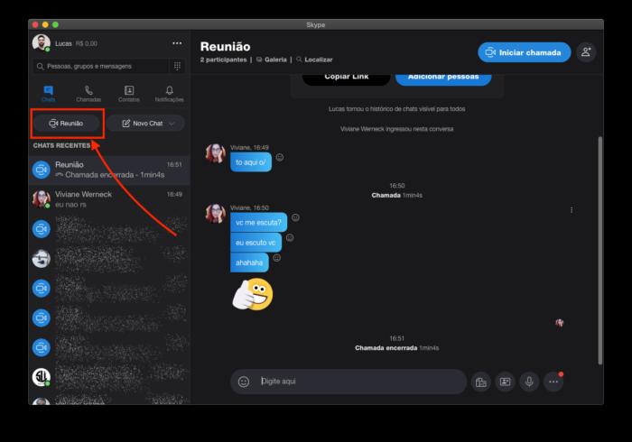 iniciar reunião skype