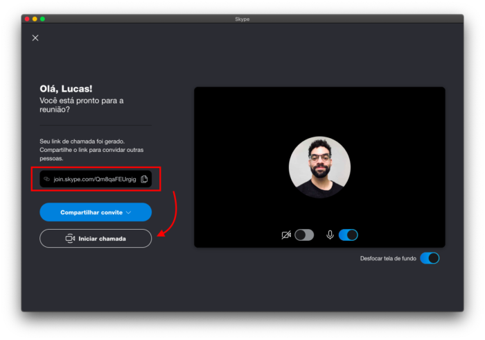 iniciar chamada de vídeo via skype