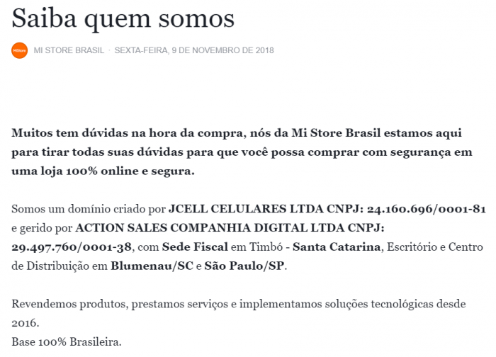 Mi Store Brasil no Facebook