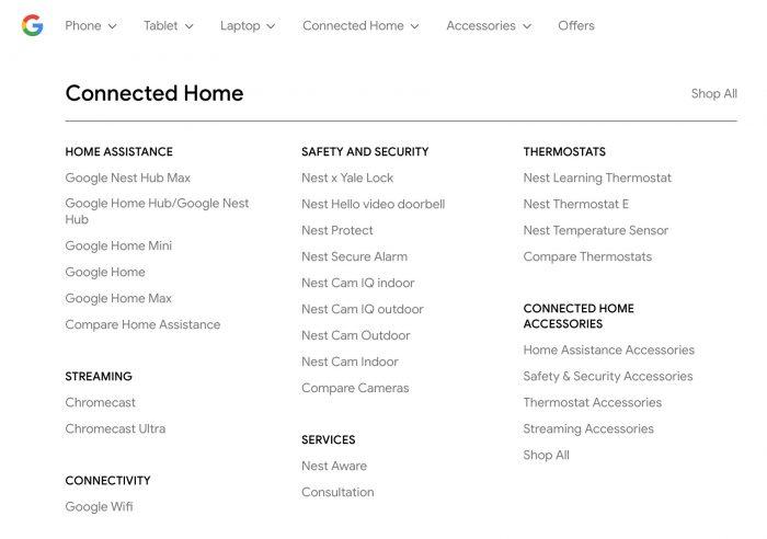 Google Store também exibiu link para o Nest Hub Max
