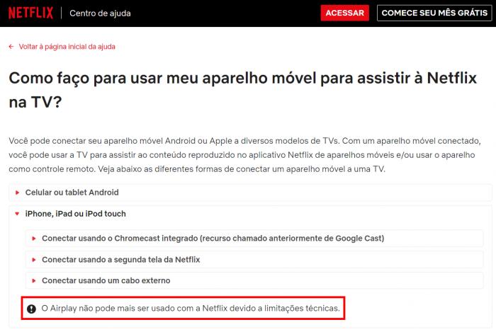 O AirPlay não pode mais ser usado com a Netflix devido a limitações técnicas.