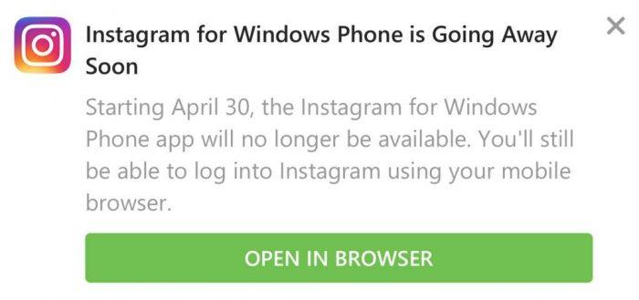 Notificação - fim do Instagram no Windows Phone