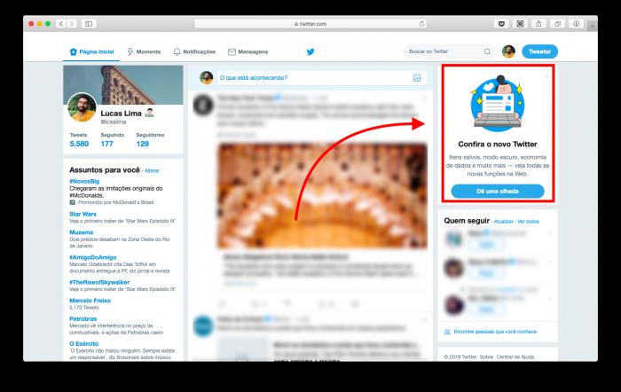 botão para testar nova interface do twitter