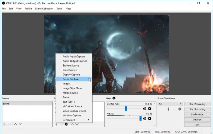 Tela principal do Open Broadcast Software (Imagem: Reprodução/OBS Project)