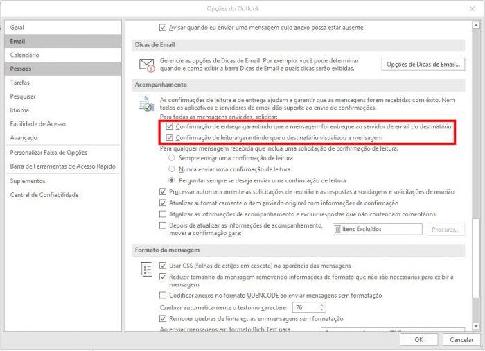 Outlook / como colocar confirmação de leitura no outlook