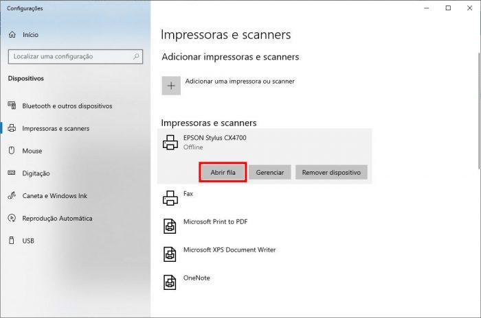 Windows / Impressoras e scanner / limpar fila de impressão