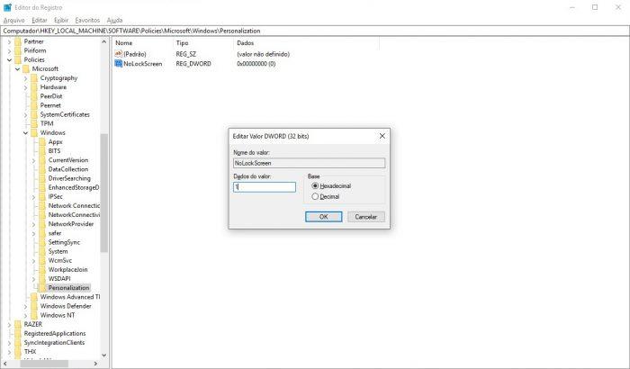 Windows 10 / Editor de Registro / tela de bloqueio windows 10