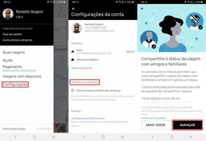 Compartilhamento de viagem do Uber / como pedir uber para outra pessoa