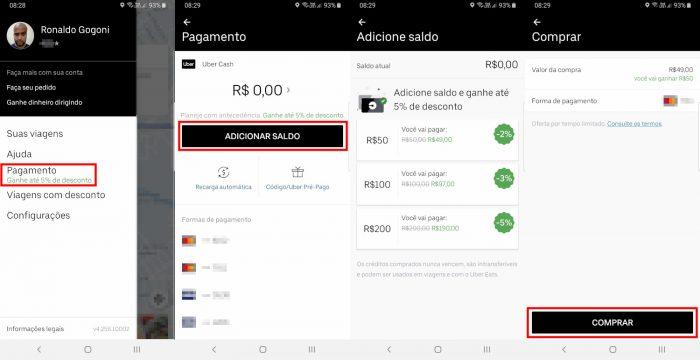 Uber Cash / como pedir uber para outra pessoa