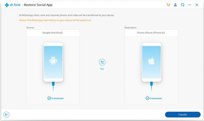 Wondershare Dr. Fone / transferir conversas whatsapp android para iphone