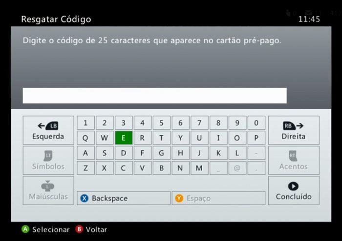Resgatando código no Xbox 360 / cartão presente microsoft