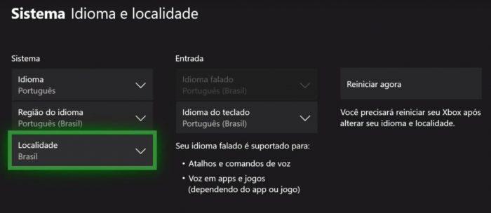 Xbox One / configurações de região / Microsoft Store