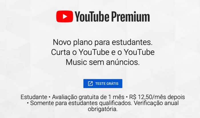 YouTube Premium para estudantes