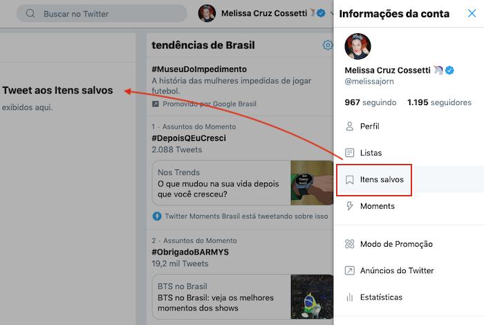 Como acessar Tweets Salvos - Twitter Web
