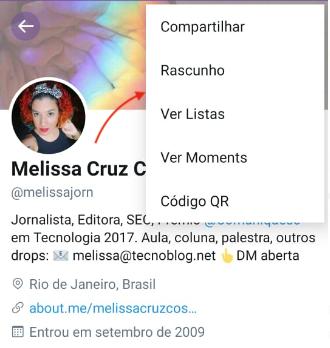Rascunho no menu (Twitter para Android)