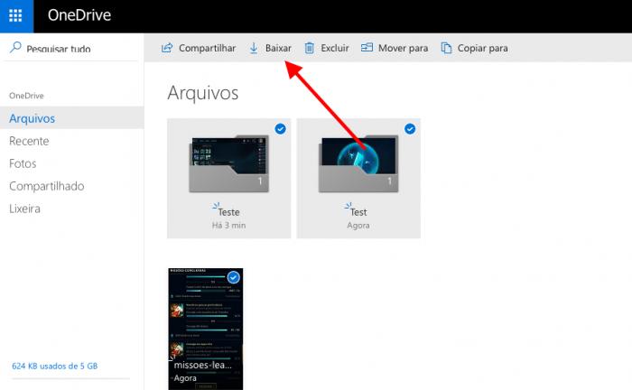 baixar arquivos do onedrive pelo navegador